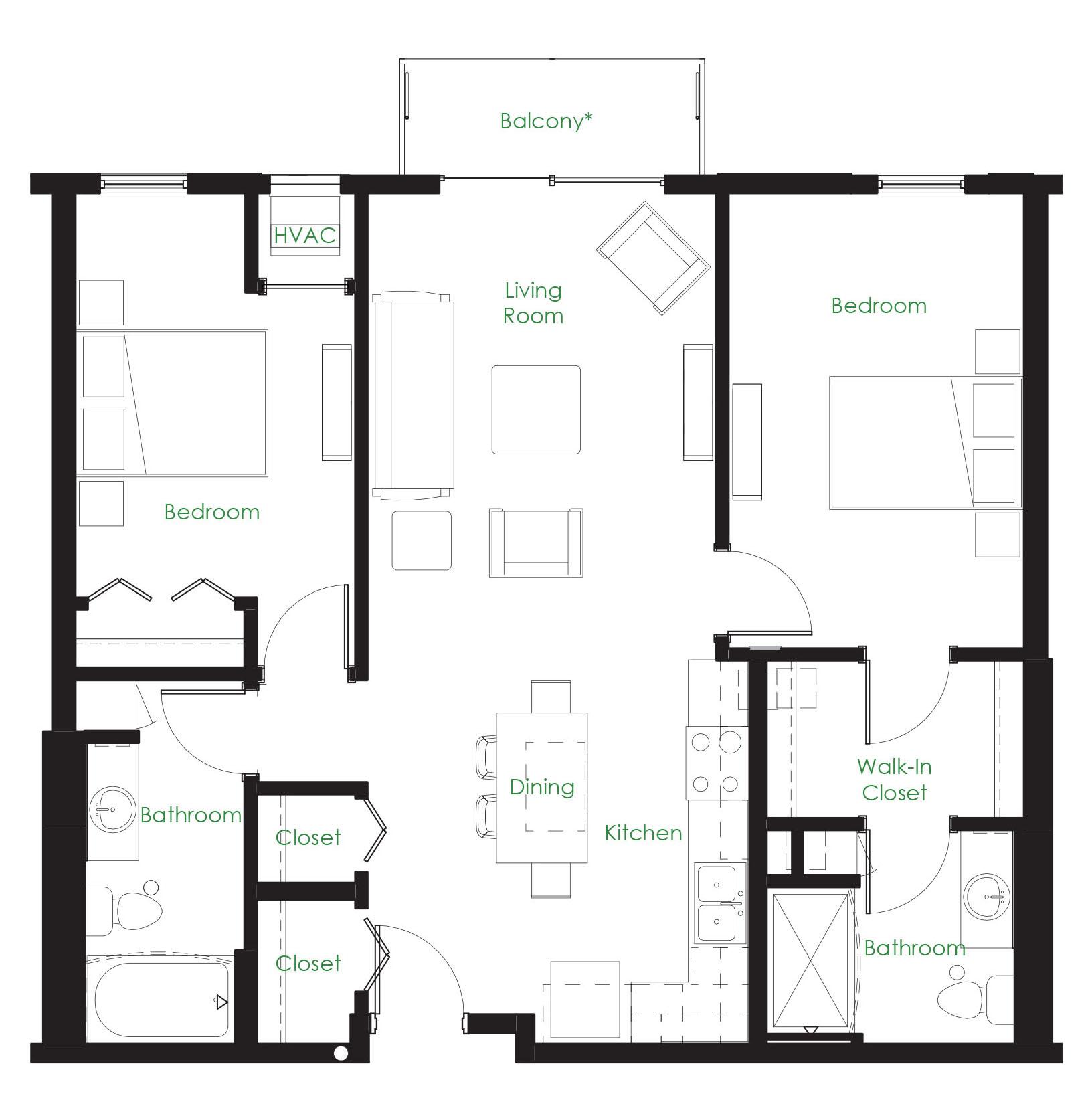 Two Bedroom C1. Two Bedroom Apartment Minneapolis MN