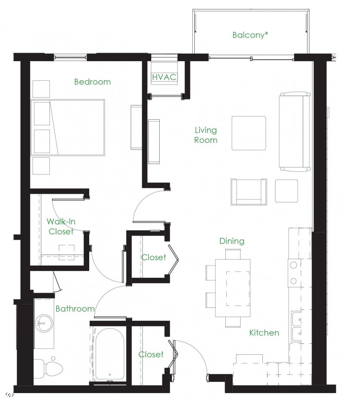 One Bedroom B2-B2A