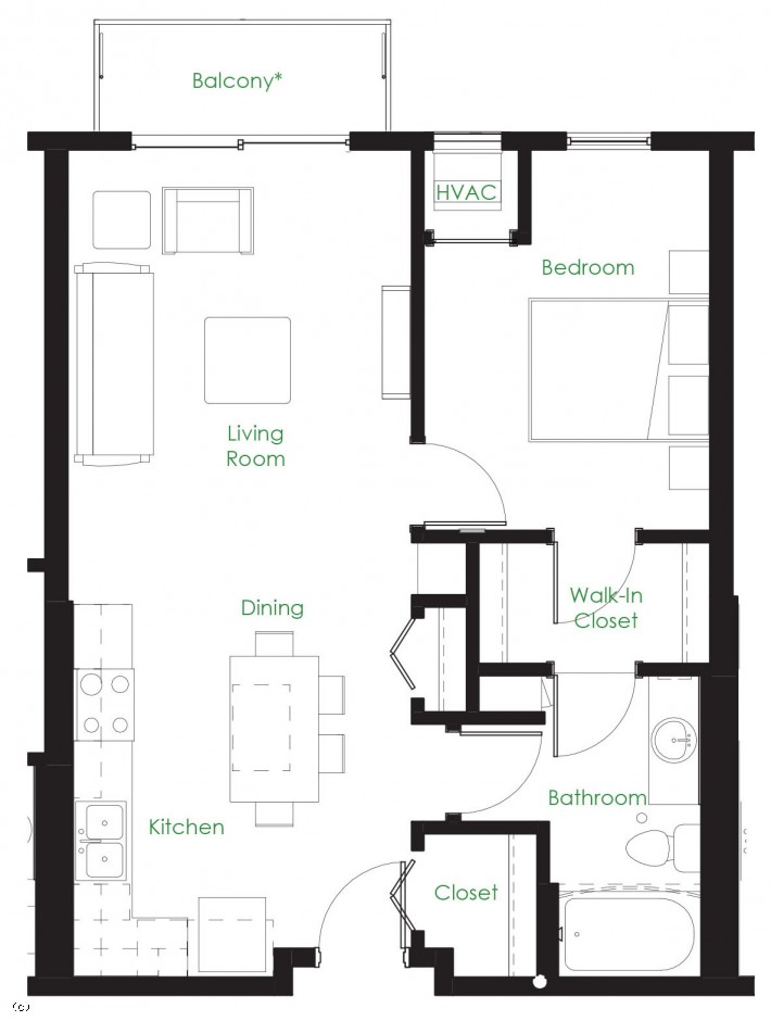 One Bedroom B1